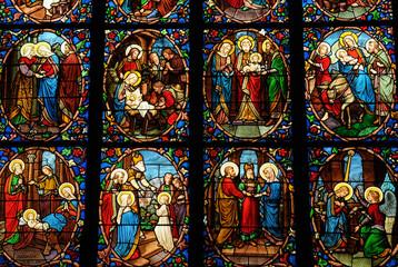 Fotobehang Stained France, cathédrale Saint Maclou de Pontoise