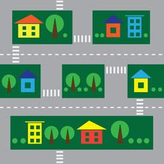 Foto op Plexiglas Op straat seamless cityscape