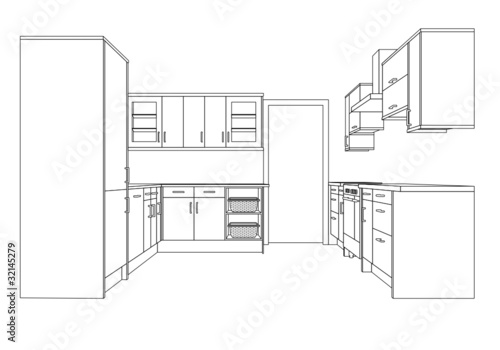 Line Drawing Kitchen : Quot a d single point perspective line drawing of fitted