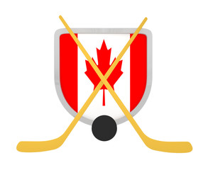 Canada shield ice hockey isolated