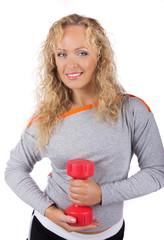 Sportswoman is smiling