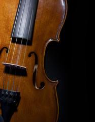 Violin on black closeup