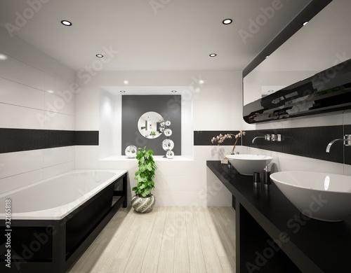 Cuarto de baño blanco y negro\