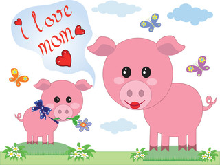 Mothers day,two pigs,vector