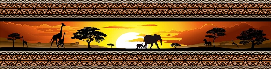 Poster de jardin Draw Savana Tramonto e animali-Savannah Sunset and Animals-Banner
