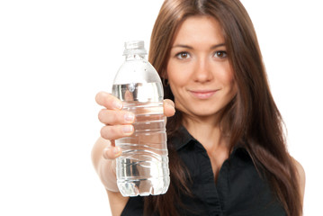 Woman offer and give bottle of pure still drinking water for die