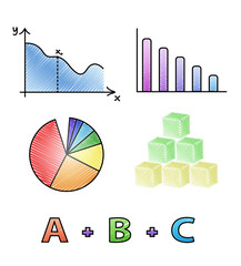 Vector mathematical icons, isolated