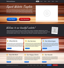 creative website template - wood background, stickers