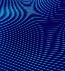 Keuken foto achterwand Abstract wave 3d render of blue wavy tube pattern representing the sea