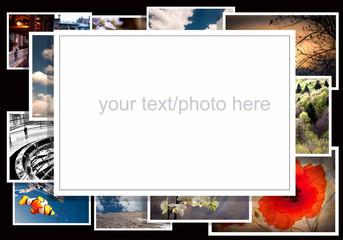 cornice per foto su sfondo nero con fotografie