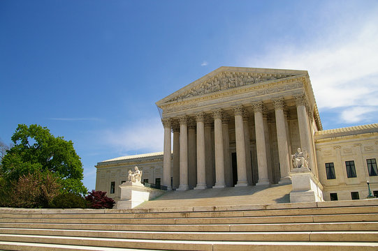 The Supreme Court building in Washington, DC. United States