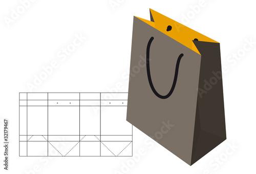 Sac papier patron fichier vectoriel libre de droits - Patron sac en papier ...