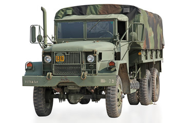 Isolated US Military Truck with Clipping Path