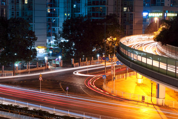 light trails on the overpasses at night