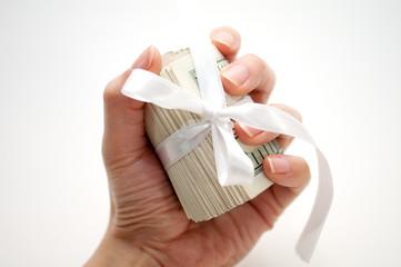 Dollar roll  in hand