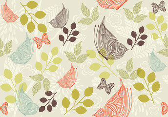 retro floral background with butterfly