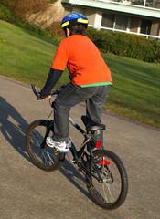 Boy on the bike with helmet
