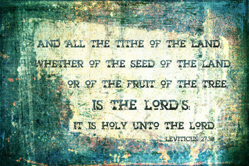 """""""All the Tithe is the Lord's""""   Religious Background"""