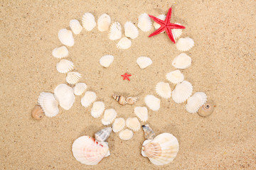 heart made with shells