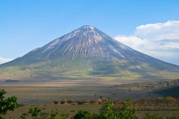Poster Mexico Ol Doinyo Lengai volcano and Maasai village in Tanzania