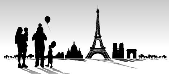 Paris Skyline mit Familie
