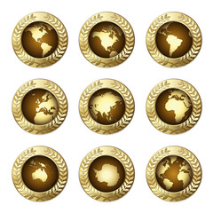 Award Globes with Olive Branch Wreath – a set of nine