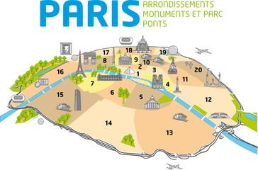 PLAN DE PARIS - Ponts - Monuments - Arrondissements