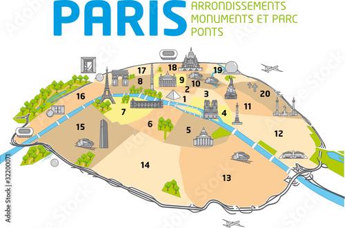 """Bien-aimé PLAN DE PARIS - Ponts - Monuments - Arrondissements"""" Stock image  MV99"""