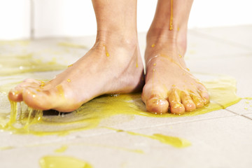 Foots in melted slime