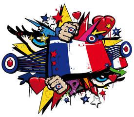 Printed roller blinds Art Studio Graffiti France révolution française pop art illustration