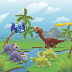 Photo sur cadre textile Dinosaurs Cartoon dinosaurs scene.