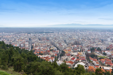 Panoramic view of Serres city at north Greece