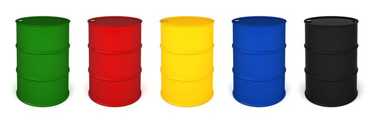 Five colored barrels 3D render