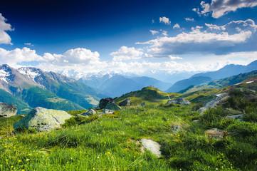 mountain panorama from fiescheralp and bettmeralp, wallis, switz