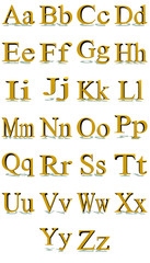 Times New Roman gold alphabet