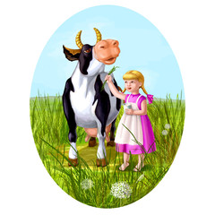 Little caucasian girl feeds cow