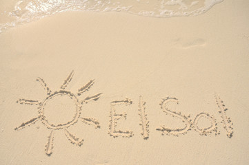 El Sol Written in Sand on Beach