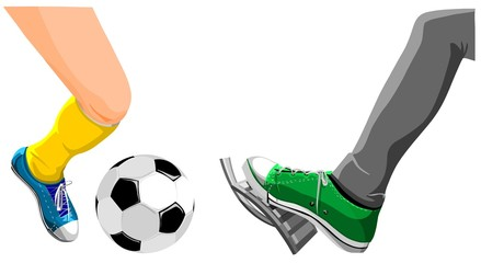 Foot with a soccer ball and foot presses on  the gas.