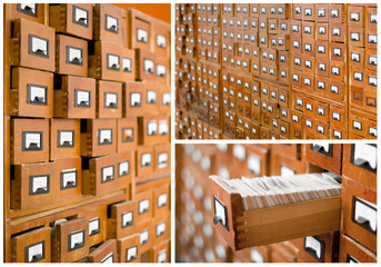 Wall Mural - card catalog or cabinet with opened drawer and files