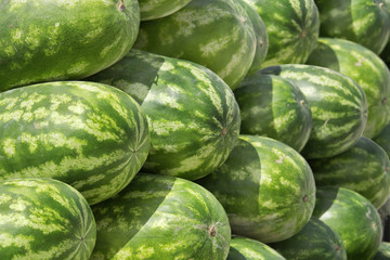 Closeview of stacked watermelon