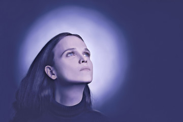 Inspired fantastic dreamy woman in blue