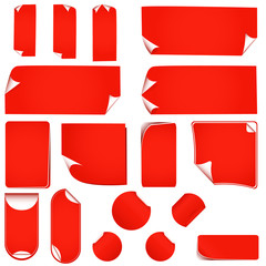 new realistic vector red stickers with peeling corners