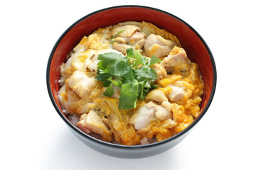 oyakodon , a bowl of rice with chicken and eggs , japanese dish