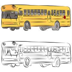 School Bus Line Drawing