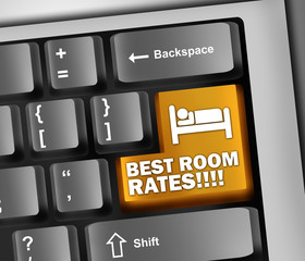 "Keyboard Illustration ""Best Room Rates!!!!"""