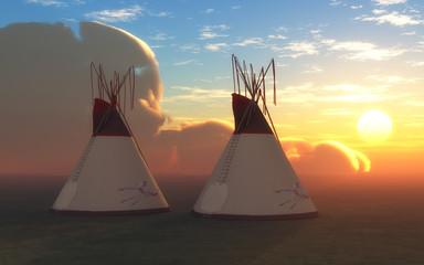 Printed kitchen splashbacks Indians Two Teepees at Sunset