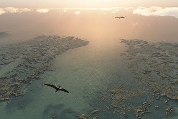 Pteranodon flying above river delta