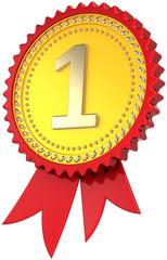Award ribbon golden first place winner. Leadership pride badge