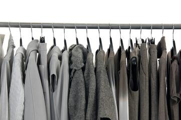 Designer fashion autumn/winter clothing on hangers