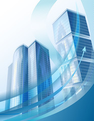 Modern city buildings and abstract business graph